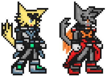 Night and Mew - Megaman Zero Style by StarBomberX