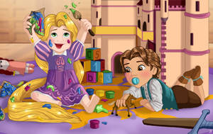 Baby Rapunzel and Flynn by Pridipdiyoren
