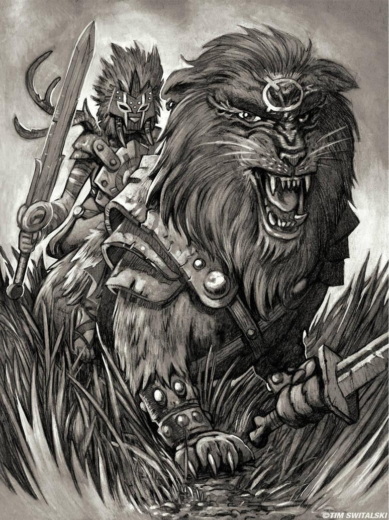 Lion Rider Sketch by timswit