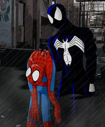 Spidey in the rain by Tekkaman-James