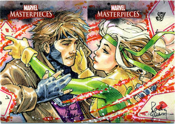 Rogue and Gambit sketch card by RandyGreen