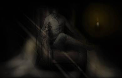 A sitting man by JillArth