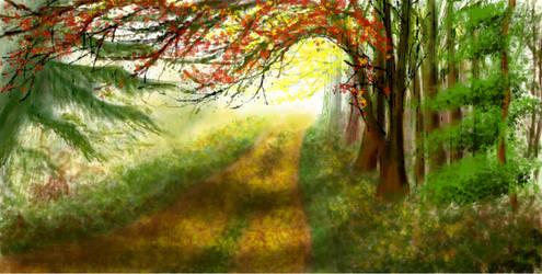 Sunlit Path...Damuro!!! YOU BAD!!!:(:( :O:O by HapeeBizeeBeez