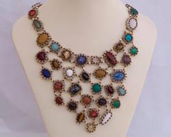Mosaic bib necklace N1353 by Fleur-de-Irk