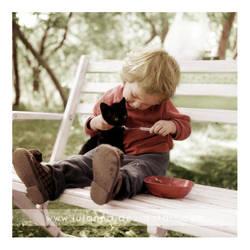 feeding kitty by Julanna