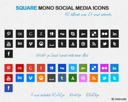 Square Mono Social Media Icons by KL-Webmedia