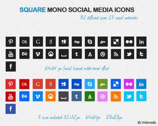Square Mono Social Media Icons by KL-Webmedia