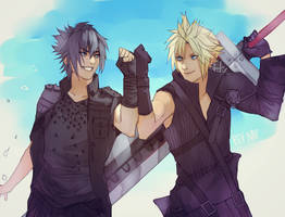 Noct and Cloud (Commission) by Bev-Nap