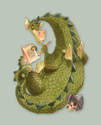 Sketch Dragon Desktop art by RobbVision