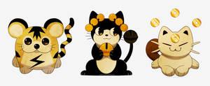 Pokemon Cat Trio by auburn-owl