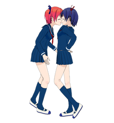 Blue and Red Haired Girls by Rapier838
