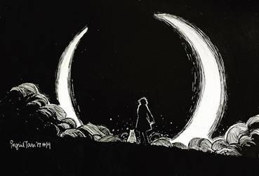 Inktober 2017 Day 14: Eclipse by IngridTan