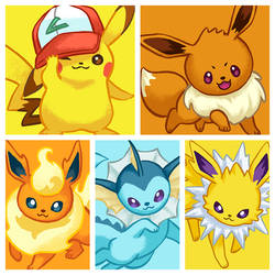 Pikachu and Eevee's by IngridTan