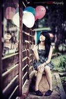 Joyful with her ballon by paten