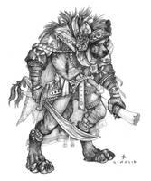 Desert Swordsman (Gnoll) by SimulDraws