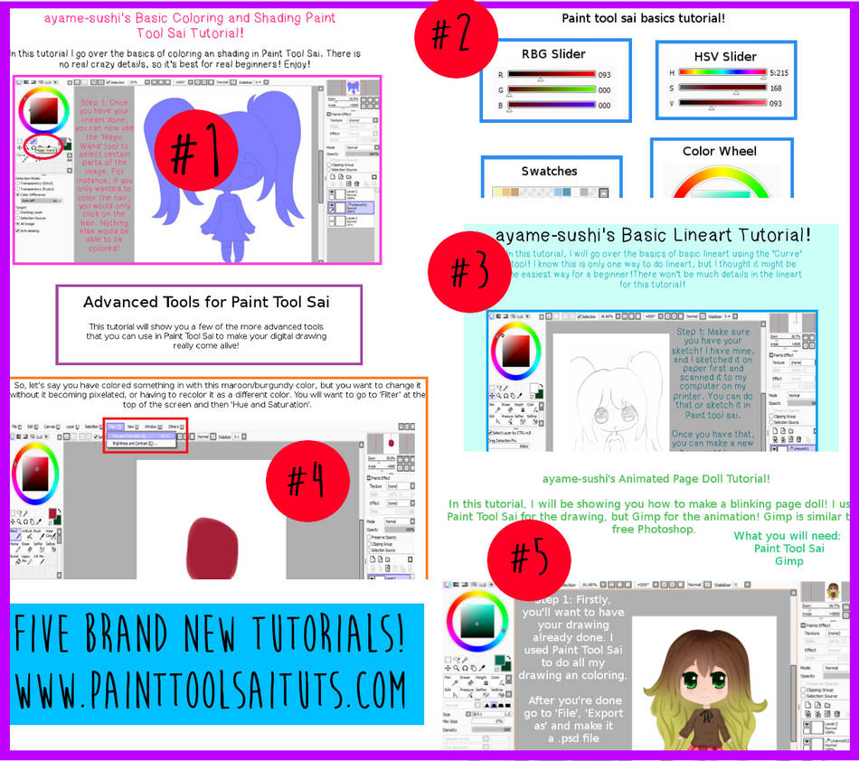 Five Brand New Paint Tool Sai Tutorials By Princesspyrefly On
