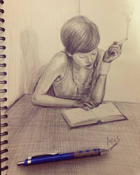 Girl Reading Book drawing by arasacer