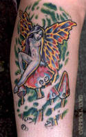 mushroom faery tattoo by cannibol