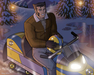 Wolverine on a Snowmobile by JericaWinters
