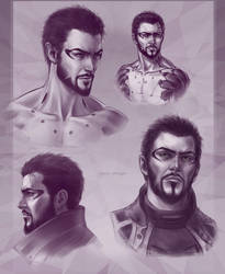 Adam Jensen sketches by DariaDesign