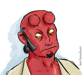 Hellboy watercolor by burrito-madness