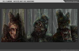 Sci-Fi Horror - Infested Face Variations by waywalker
