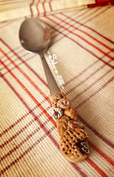 Polymer Clay Teaspoon Handle by SilverDreamCat