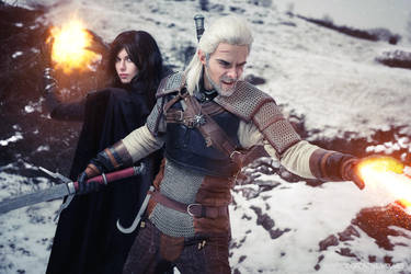Geralt and Yennefer cosplay by Kuromaru-dono