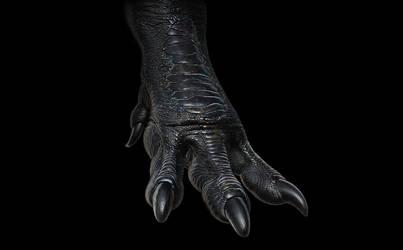 Tyrannosaurus rex foot (render test) by hugocafasso