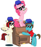 Thespio, Midnight Sonata and Pinkie play the Blues by FreshlyBaked2014