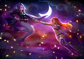 commission - Raven x Starfire by CherryInTheSun