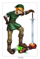 Victory : Link sketch colored by deviantbluebug