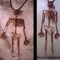 Gothic Skeleton Pendant Detail by JPCopper