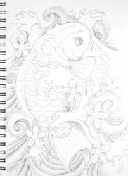 Koi tattoo b and w by bsguru