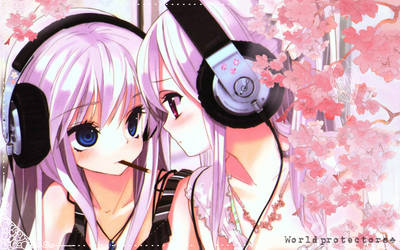 Anime Girls With Headphones - Edited by Wp by Worldprotectors