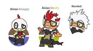 Alolan Scraggy and Scrafty by JoltikLover