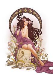 Art Nouveau Iris by CassiopeiaArt