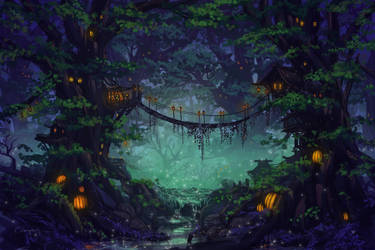 Commission - Elf Forest by CassiopeiaArt