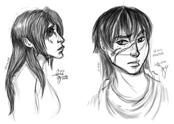 Histlan and San 15 min sketches by leighanief