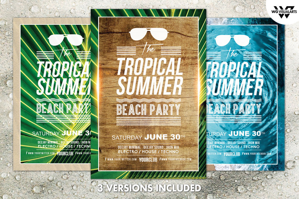 summer tropical flyer template by wgvisualarts on deviantart