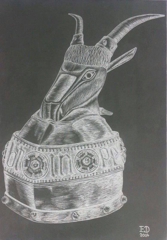 Drawing - Helmet Of Skanderbeg 04 by eduaarti