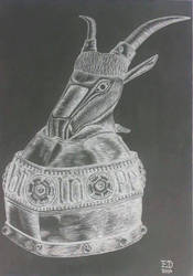 Drawing - Helmet Of Skanderbeg 04 by eduaarti