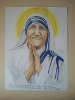 Watercolor And Drawing - Mother Teresa by eduaarti