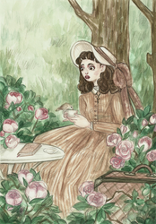 Book, tea and nature by theLusciousDollmaker
