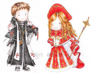 Chibi Tres and Caterina by Shu-Maat