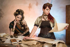 Steampunk ladies - Researching by Shu-Maat