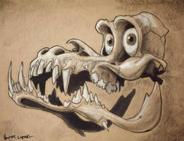 skull with cartroon eyes by heckthor