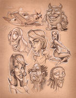Micron marker Sketches collage by heckthor