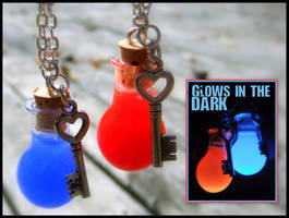 Glow in the Dark Health + Mana Potion Necklaces by Euphyley