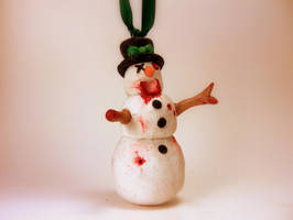 Zombie Snowman Christmas Ornament by Euphyley